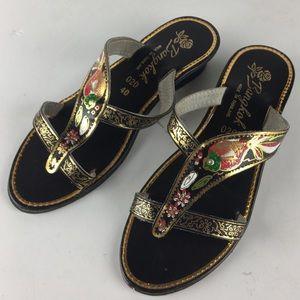 c83db19613f Bangkok Metallic Asian Fish Floral Sandals Heels